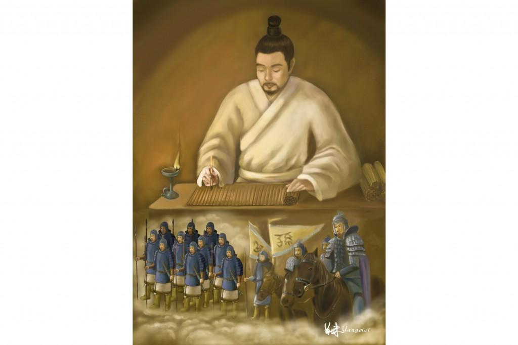 """Tôn Tử, là vị tướng vĩ đại của Trung Quốc và là chiến lược gia quân sự, ông đã biên soạn kiệt tác """"Binh Pháp Tôn Tử"""" nổi tiếng. (tranh SM Yang / The Epoch Times)"""