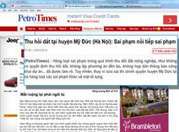 Báo PetroTimes đưa tin ngày 16 tháng, 2014: Thu hồi đất tại huyện Mỹ Đức (Hà Nội): Sai phạm nối tiếp sai phạm - Mất ruộng lại phải ngồi tù..