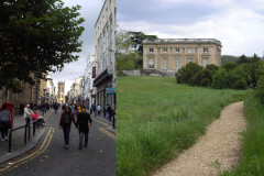 Bên trái: Con phố Bold ở Liverpool, Anh, nơi có nhiều báo cáo về các vụ du hành ngược thời gian. Bên phải: Lâu đài Petit Trianon trong khuôn viên lâu đài Versailes, Pháp nơi hai người phụ nữ đã du hành ngược thời gian vào năm 1901 (wikimedia commons)