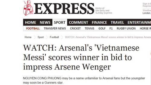 Tờ Express của Anh đưa tin về chiến công của Công Phượng.