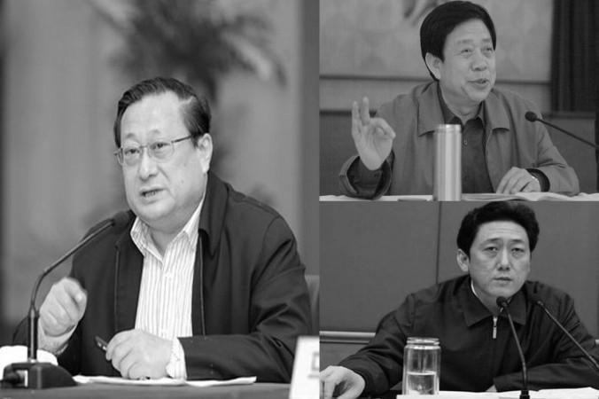 Ba quan chức cấp cao ở tỉnh Sơn Tây đã bị sa thải vào ngày 23 tháng 8 trong chiến dịch chống tham nhũng của Trung Quốc, bao gồm Nhiếp Xuân Vũ (trái ), Trần Xuyên Bình, người đứng đầu Đảng thủ phủ địa phận, thành phố Thái Nguyên (phải-dưới) và Lưu Tuy Cơ (phải- trên) thư ký của Ủy ban Luật pháp và chính trị thành phố Thái Nguyên. (Ảnh chụp màn hình / ifeng.com & 163.com)