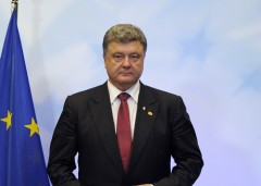 Ukrainian President Poroshenko arrives for a news conference at the European Council headquarters during an EU summit in Brussels