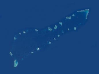 Ảnh vệ tinh chụp cụm Sinh Tồn thuộc quần đảo Trường Sa, Biển Đông. wikipedia