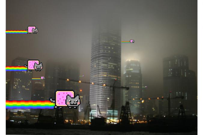 Trong một bức ảnh từ nhóm hacker Anonymous, nhân vật mèo Nyan Cats đang bay đến Trung Quốc. Vào ngày 15 tháng 10 năm 2014, Anonymous tuyên chiến với chính quyền Trung Quốc, và tuyên bố sẽ thực hiện một loạt các vụ tấn công. (Anonymous)