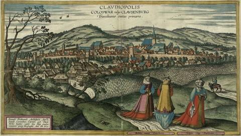 Bức tranh thành phố Cluj-Napoca vào thế kỷ 17, được vẽ bởi họa sỹ Egidius van der Rye và khắc bởi Joris Hoefnagel (1542–1600). (Ảnh: Wikimedia Commons).