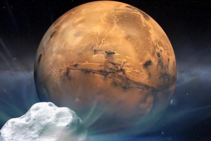 Sao chổi Siding Spring và sao Hỏa (Ảnh: NASA)