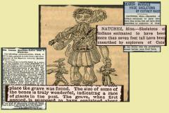 """Những bài báo cắt mô tả những khám phá về những bộ xương được cho là của người khổng lồ. Hình nền: Trang bìa cuốn """"Jack the Giant Killer."""" (Wikimedia Commons)"""