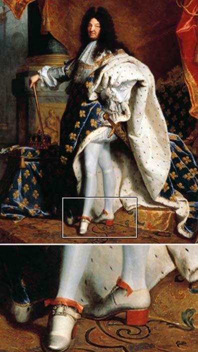 Vua nước Pháp Louis XIV đang đi đôi giày cao gót biểu tượng của ông trong một bức chân dung năm 1701 của Hyacinthe Rigaud. (Wikimedia Commons)