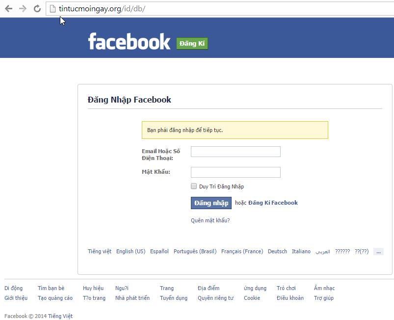 Một màn hình giống hệt facebook, nhưng nếu để ý thì thấy link là trang khác