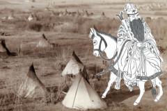 Một bức tranh mô tả Trương Quả Lão cưỡi lừa ngược. (Yeuan Fang / Epoch Times). Ảnh nền: Nơi sinh sống với những túp lều của người Lakota, c. 1891. (John C. Grabill qua Shutterstock *)