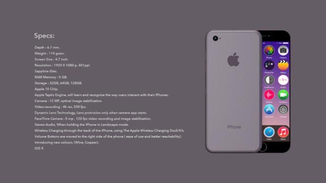 Cấu hình dự kiến của iPhone 7.