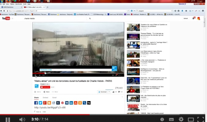 Đây là đoạn video phân tích sự dàn dựng của vụ tấn công tòa soạn Charlie Hebdo hiếm hoi còn lại trên Youtbe chưa bị xóa. Ảnh: cắt từ video