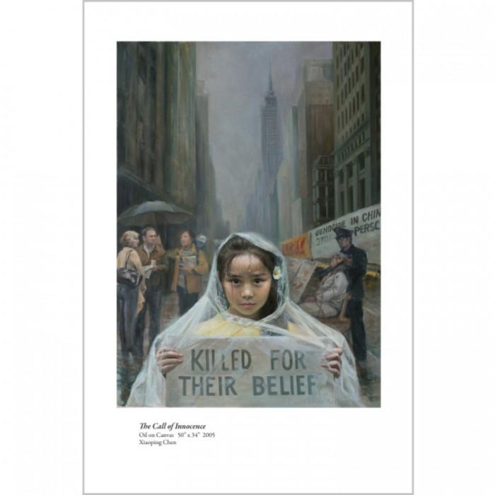 Pictură înfăţişând o fetiţă în Manhattan, ce spune oamenilor despre persecuţia Falun Gong (Centrul Artistic Falun Dafa)