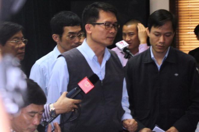 Ông Thái Chí Pháp - trưởng văn phòng đại diện Formosa tại Hà Tĩnh tại buổi họp báo - Ảnh: Văn Định