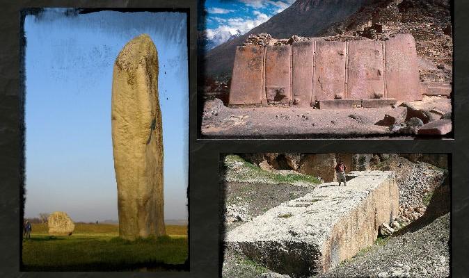 Trái: Một tảng cự thạch ở Avebury Cove. (Jim Champion/Wikimedia Commons) Trên cùng bên phải: Các tảng cự thạch ở Ollantaytambo, Peru. (Wolfgang Beyer/Wikimedia Commons) Dưới cùng bên phải: Một tảng cự thạch ở Baalbek, Lebanon. (Wikimedia Commons) Nền: (Bikerboy82/iStock/Thinkstock)