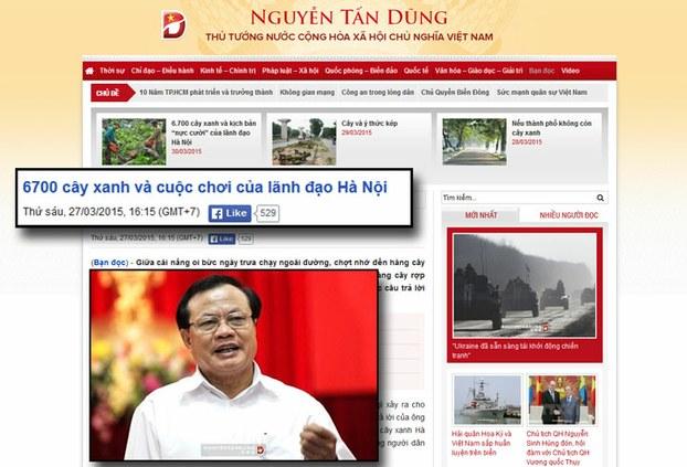 Một trang báo chính phủ đăng tin về vụ chặt cây xanh ở Hà nội