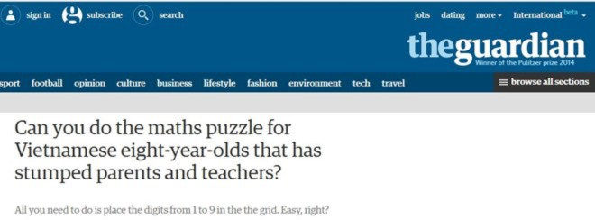 Báo chí nước ngoài đau đầu với bài toán của học sinh lớp 3 Việt Nam