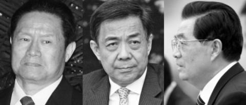 """(Từ trái sang phải) Chu Vĩnh Khang, Thư ký Ủy ban Chính trị và Pháp luật Trung Quốc, năm 2007; Bạc Hy Lai, Bí thư Thành ủy Trùng Khánh, tháng 3 năm 2011; nhà lãnh đạo tối cao Trung Quốc Hồ Cẩm Đào tại cuộc gặp với các lãnh đạo EU tại """" Đại lễ đường Nhân dân"""" ở Bắc Kinh ngày 15 tháng 2 ( Từ trái sang phải: Teh Eng Koon/AFP/Getty Images, Feng Li/Getty Images, and How Hwee Young/AFP/Getty Images)"""