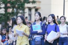 Thí sinh thi môn địa lý tại điểm thi trường ĐH Khoa Học Tự Nhiên thuộc cụm thi ĐH Quốc gia TP.HCM sáng 3-7 - Ảnh: Như Hùng