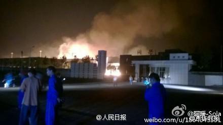 Hiện trường vụ nổ ở Sơn Đông. Ảnh: Weibo.com