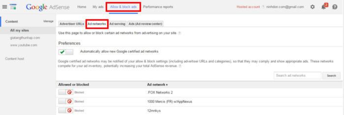 Chặn mạng quảng cáo Google Adsense