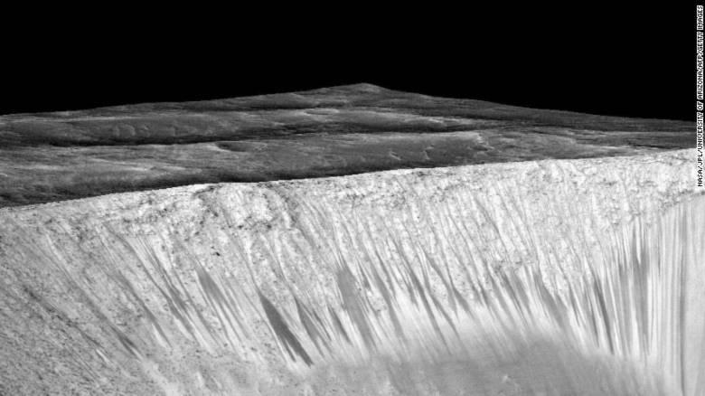 Những vệt đen cho thấy dấu hiệu của dòng chảy xuất hiện tại miệng núi lửa Garni trên Sao Hỏa. Ảnh: NASA