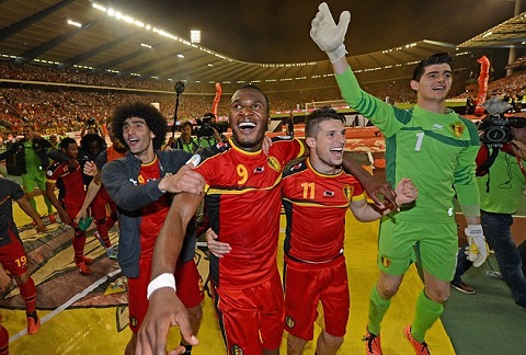 Marouane Fellaini - Christian Benteke - Kevin Mirallas  - Thibaut Courtois  of belgique SOCCER : Belgium vs Serbia - FIFA 2014 World Cup Qualifier - 06/07/2013 (Panoramic) Picture Supplied by Action Images PLEASE NOTE: FOR EDITORIAL SALES ONLY. CONTRACT CLIENTS: ADDITIONAL FEES MAY APPLY - PLEASE CONTACT YOUR ACCOUNT MANAGER