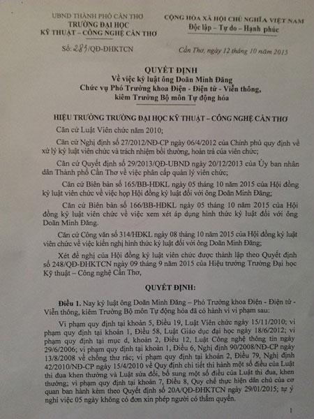 Quyết định kỷ luật ông Doãn Minh Đăng. Ảnh vietnamnet