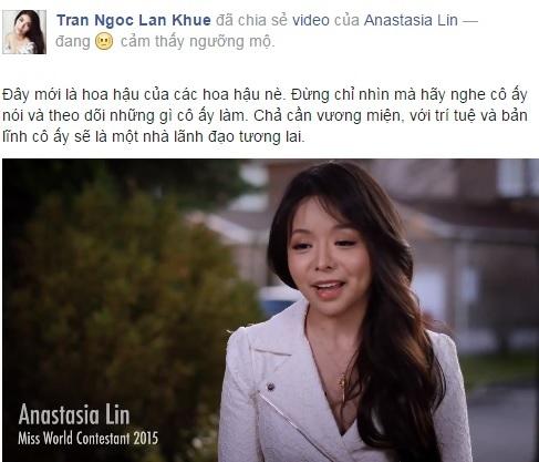 Lan Khuê chia sẻ video của Anastasia Lin trên trang Facebook cá nhân.