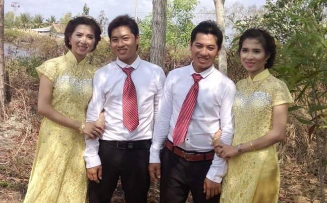 Hai anh em song sinh ở Cà Mau cưới hai chị em song sinh