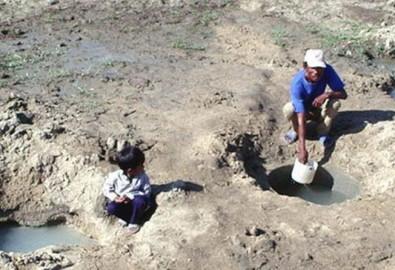 Hai cha con đang vét nước trên cánh đồng Bình Quý (Ninh Phước