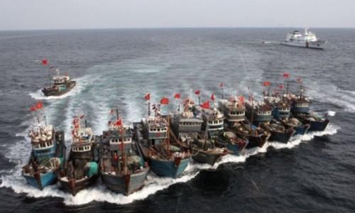 Tàu cá Trung Quốc dàn hàng chống cự khi bị cảnh sát biển Hàn Quốc truy đuổi. Ảnh: AFP.