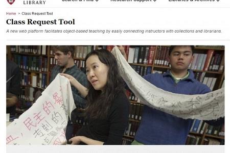 Cô Hà Hiểu Thanh (giữa), nữ giáo sư gốc Trung Quốc giảng dạy tại Đại học Harvard dẫn sinh viên đến thư viện Yenching của Harvard tìm đọc tài liệu về sự kiện Thiên An Môn. (Ảnh: Website Harvard)