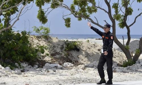 Binh sĩ Đài Loan đồn trú trái phép trên đảo Ba Bình, thuộc quần đảo Trường Sa của Việt Nam. Ảnh: Forbes