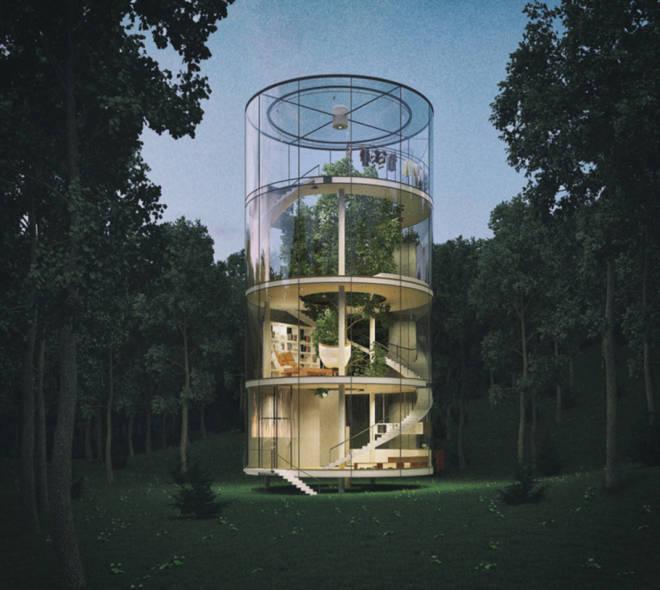 Nhà 4 tầng trong suốt nằm giữa rừng
