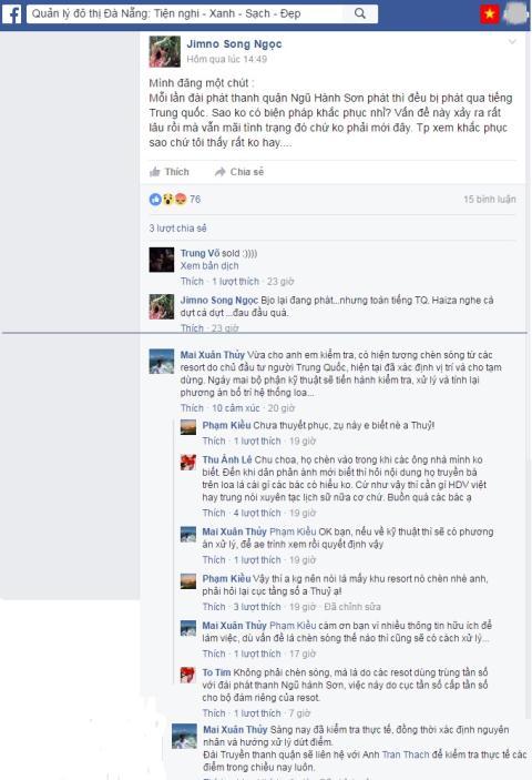 """Trang Facebook phản ánh đài truyền thanh địa phương ngắt quãng """"chèn sóng Trung Quốc"""". Ảnh baodatviet.vn"""