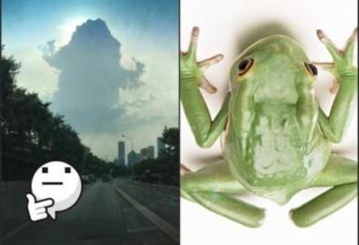 Đám mây có hình dạng giống con cóc xuất hiện trên bầu trời thành phố Tây An, tỉnh Thiểm Tây, Trung Quốc.