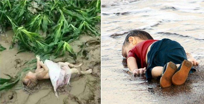 Nhiều dân mạng bức xúc vì thông tin về trẻ em chết đuối trong trận lũ lụt nghiêm trọng ở Hình Đài bị xóa, trong khi hình ảnh cậy bé Syria năm bên bờ biển hồi năm 2015 được đưa tin rộng rãi.