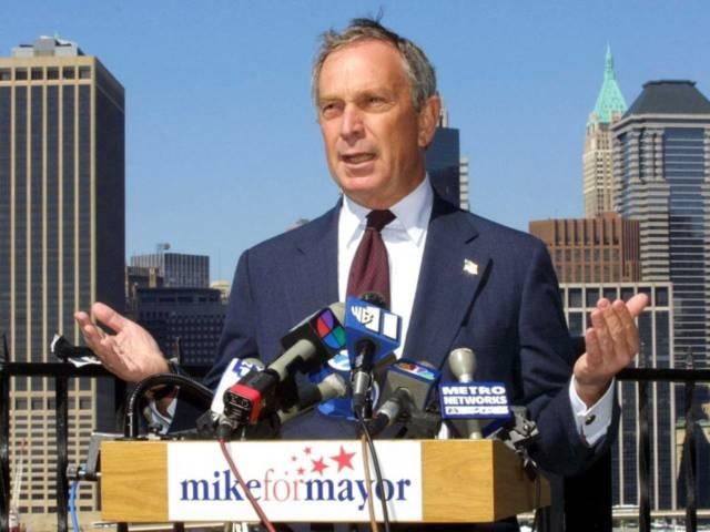 Bloomberg trong buổi vận động tranh cử đầu tiên năm 2001