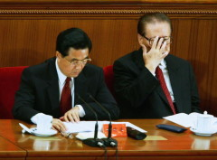 BEIJING - SEPTEMBER 03:  Chinese President, Hu Jintao, (L) and former President, Jiang Zemin, attend a meeting marking the 60th anniversary of the victory of China's Resistance War Against Japanese Aggression September 3, 2005 in Beijing, China.  (Photo by Andrew Wong/Getty Images)