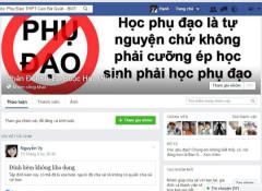 rang Facebook phản đối việc dạy thêm ở Trường THPT Cao Bá Quát Ảnh: CAO NGUYÊN