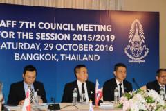 Cuộc họp của LĐBĐ Đông Nam Á hôm 29-10 bàn về việc các nước chung tay đấu thầu đăng cai World Cup. Ảnh AFF