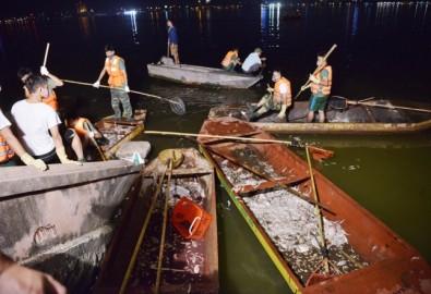 khoảng 300 công nhân thuộc Công ty TNHH MTV Hồ Tây, Công ty CP Môi trường và sinh thái Sao Mai, Xí nghiệp 1 thuộc Công ty Thoát nước Hà Nội được huy động thu gom cá chết ở hồ Tây. Ảnh vnexpress.net