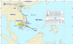 Vị trí và đường đi của áp thấp nhiệt đới. Ảnh Trung tâm Dự báo Khí tượng Thủy văn