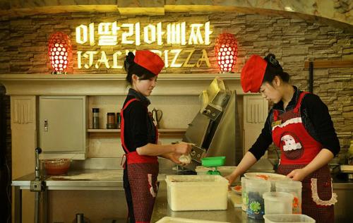 Một nhà hàng pizza tại Bình Nhưỡng. Ảnh: Washington Post