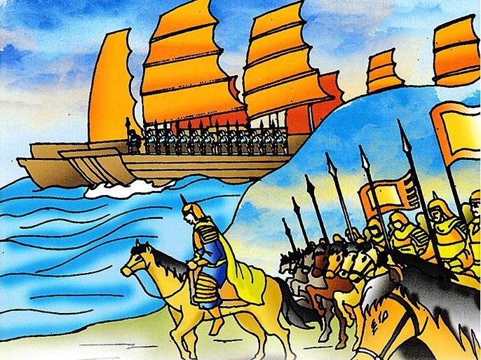Trên sông và các sườn đồi, quân Việt trang phục, gươm giáo chình tề hò reo dậy đất. Tranh lịch sử Việt Nam