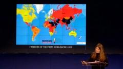 Bản đồ tự do thông tin do tổ chức Phóng viên Không biên giới cung cấp, Việt Nam nằm trong số các nước bị bôi đen. RFA photo