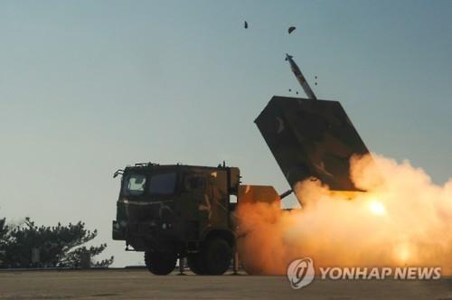 Giàn phóng tên lửa đa nòng Chunmoo của Hàn Quốc.