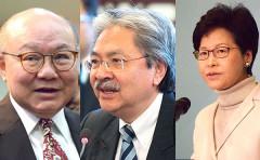 Bà Lâm Trịnh Nguyệt Nga (phải), người mới đắc cử chức Trưởng đặc khu Hành chính Hồng Kông, ông Tằng Tuấn Hoa (giữa), cựu Bộ trưởng Tài chính Hồng Kông, và ông Hồ Quốc Hưng (trái), một thẩm phán về hưu. (Ảnh: Wikipedia)