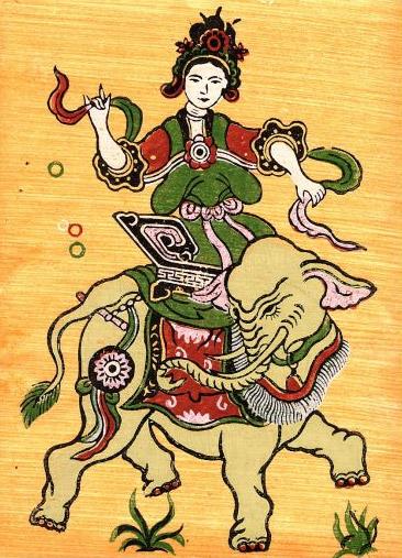 Tranh Bà Triệu cưỡi voi trắng.
